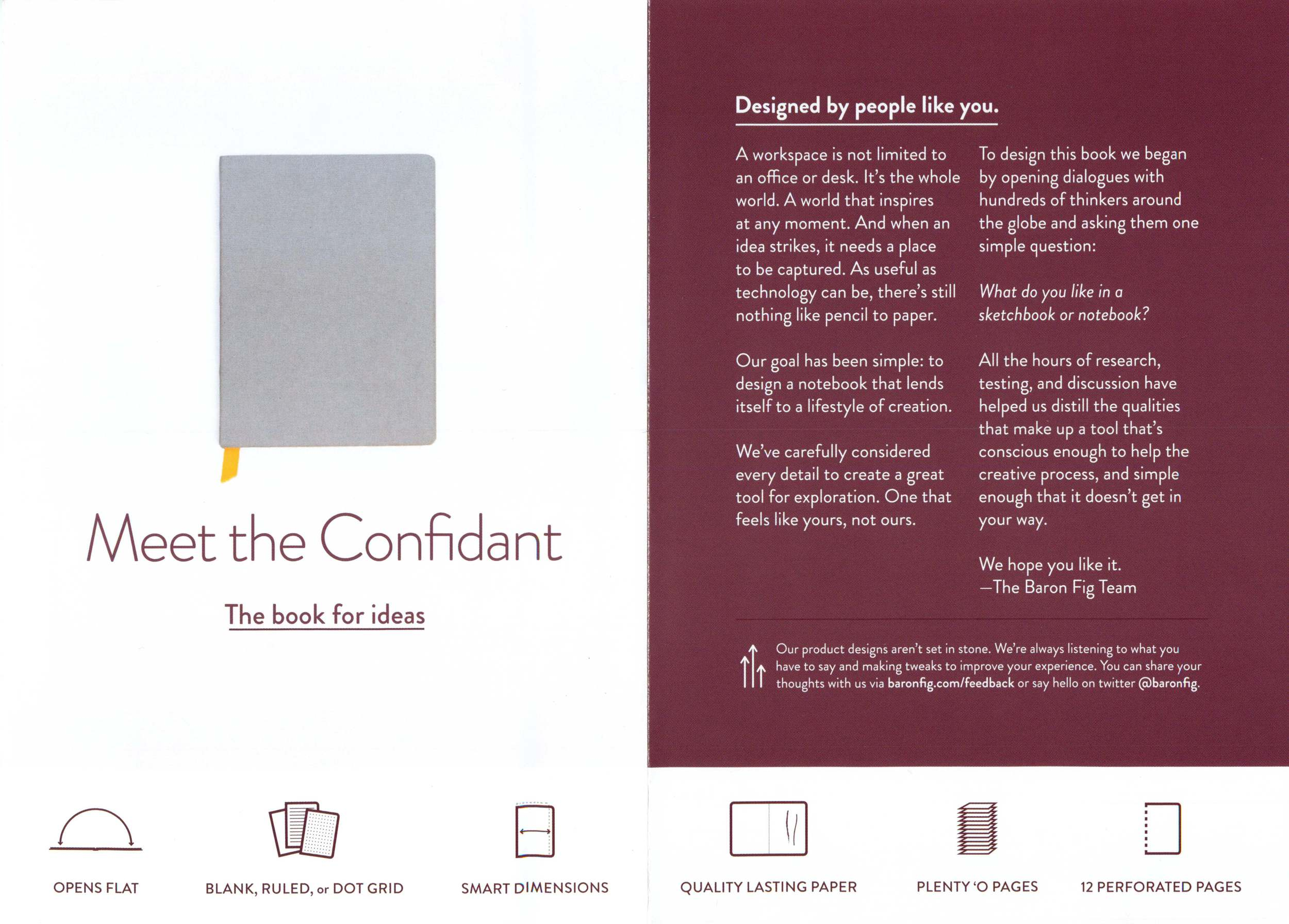 Baron Fig packaging insert. (Click to enlarge.)